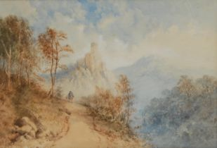 In the manner of Cornelius Pearson (1805-1891) Traveller on a Country Road watercolour, 20.5cm x