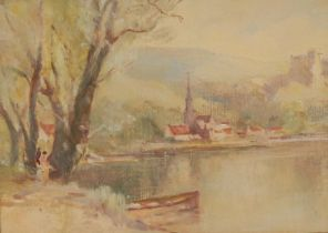 English School (20th century) Impressionist View Across the Water oil on board, 24cm x 32.5cm