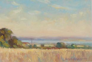 James Hewitt Summer Lanscape signed, acrylic, 14cm x 20cm