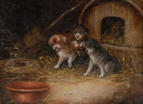 George Armfield (1808-1893) Puppies by a Kennel signed, oil on board, 18cm x 24cm