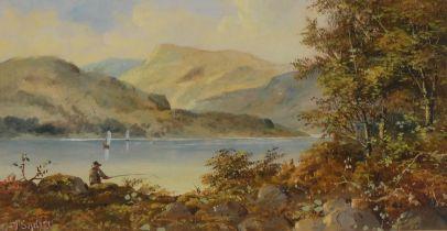 J** Sadler Lochside Fishing signed, mixed medium, 13cm x 25cm