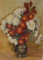 W**H**Luson Still Life, Autumn Flowers signed, oil on canvas, 33.5cm x 24cm