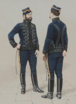 English School (20th century) Military Officers Uniform initialled BA, watercolour and gouache, 21.