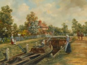 Roderick Lovesey Canal Lock signed, oil on canvas,34cm x 44cm