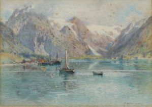 Alfred Heaton Copper (1864-1929) Sailing Boats on a Continental Lake signed, watercolour, 25cm x