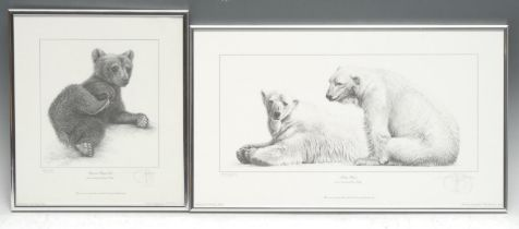 Gary Hodges Wildlife Artist (1954- ), by and after, Polar Bear, monochrome print, signed in