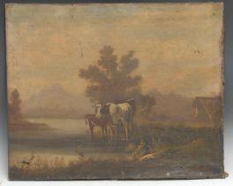 F** J**Bert Cattle and Calf oil on canvas, 54cm x 58cm, unframed