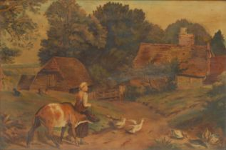 English School Farm Girl with Cattle, Geese and Ducks oil on board, 30cm x 45cm
