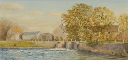 Robin Davidson Fiddleford Mill, River Stour, Dorset signed, titled to verso, oil on canvas, 26cm x