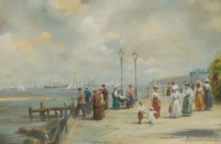 Roderick Lovesey Alberta off Cowes signed, oil on board, 17cm x 25cm