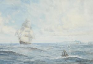 W** Gibson (20th century) Galleon off the Coast signed, watercolour, 45cm x 65cm