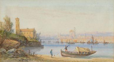 Edwin St John (1878-1961) Continental Harbour signed, watercolour, 24cm x 44cm