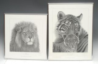 Gary Hodges Wildlife Artist (1954- ), by and after, Bengal Tigress and Cub, monochrome print, signed