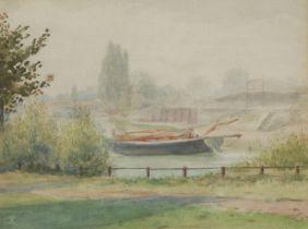 Leonard Ormonde Moored River Boat label to verso, watercolour, 18.5cm x 25cm