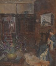 Irish School Impressionist Interior, with lady and dog indistinctly signed, oil on canvas, 34cm x