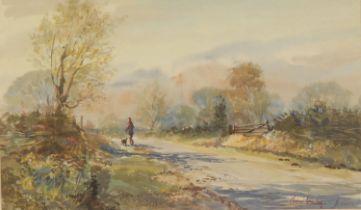 Michael Crawley Long Lane, Derbyshire signed, watercolour, 19cm x 32cm