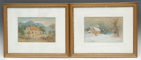 Joseph Halam Hawksworth (1827-1908) A Pair, Winter Cottage, Lakeside Cottage signed, watercolours,