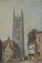English School (early 20th century) Derby Cathedral watercolour, 37.5cm x 25cm