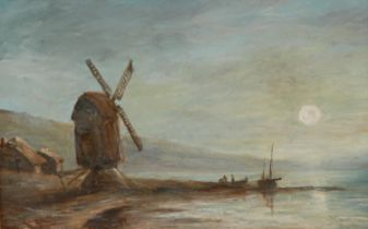 English School (late 19th century) Coastal Scene with Windmill, in the moonlight oil on board, 18.