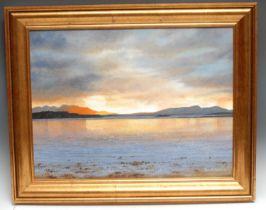 Rex Nicholls (1942-2019) Sunset Loch Farn signed, oil on canvas, 44cm x 59cm