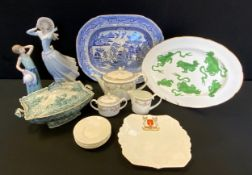 A Lladro figure Spring Breeze; another smaller; Wedgwood Chinese Tigers pattern oval meat platter;