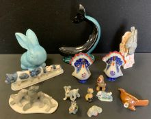 A Goebel model Nuthatch; pair of Lomonosov cockerels; Poole Whale; LLadro Seals; Wade whimseys etc.
