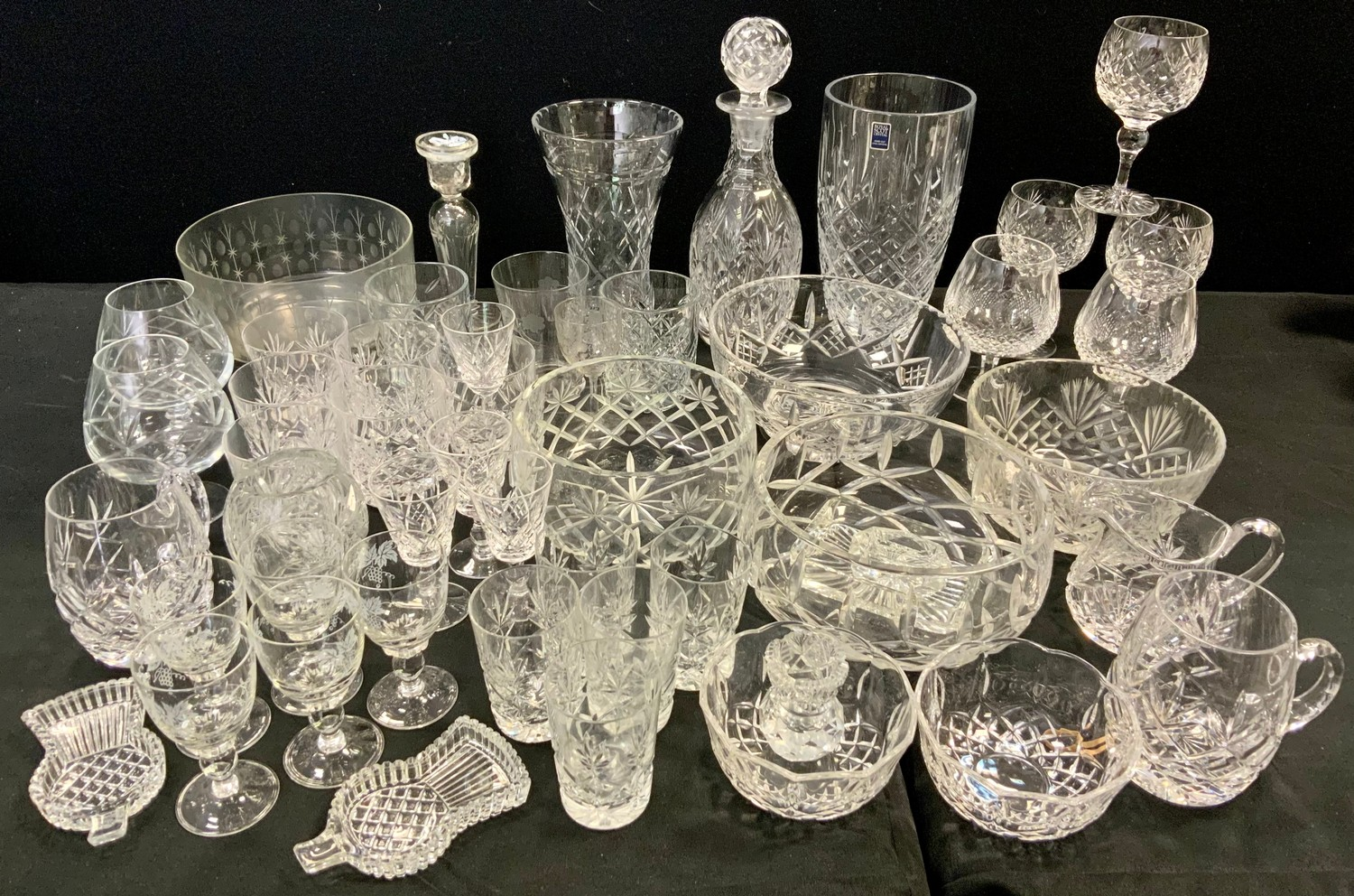 A pair of Waterford crystal brandy glasses; Royal Scot vase, engraved glass fruit bowl; others;