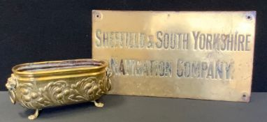 A Sheffield & South Yorkshire Navigation Company brass wall plate sign, approx 28cm x 50cm; as brass