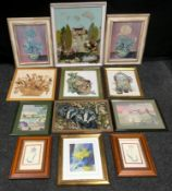 Textiles - needlework collage; needlework samplers, crossstitch; floral prints; etc