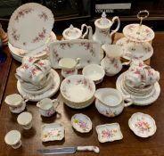 A Royal Albert Lavender Rose dinner and tea service, for seven, comprising teapot, coffee pot,