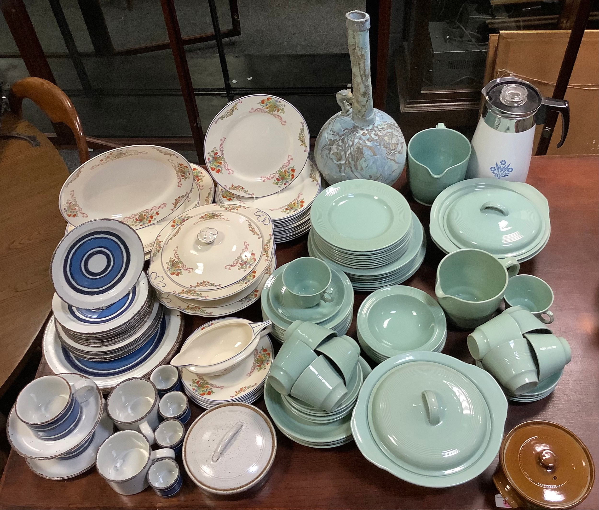 A Woods Ware Beryl green part dinner and tea service; other tableware inc Midwinter Stonehenge Moon;
