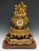 A 19th century French Rococo Revival ormolu mantel clock, 7cm white enamel chapter inscribed Le