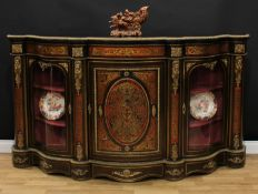 A substantial Victorian gilt metal mounted ebonised and 'Boulle' marquetry credenza, shaped top with