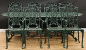 A contemporary cast alloy garden suite, the dining table in the manner of Coalbrookdale, 73cm high,
