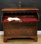 A 19th century mahogany secretaire chest, crossbanded rectangular top with moulded edge above