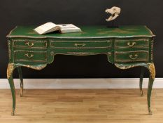 A Louis XV style painted and Chinoiserie decorated dressing table or desk, shaped rectangular top