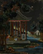 An early 19th century reverse-painting on glass, painted with children playing marbles in an open