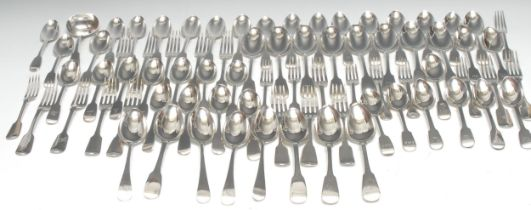 A set of six early Victorian silver Fiddle pattern table spoons, George W Adams, London 1845; a