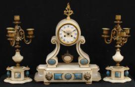 A 19th century French Grecian Revival alabaster clock garniture, 9.5cm circular dial inscribed