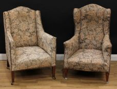 An associated pair of early 20th century drawing room chairs, stuffed-over studded border