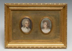 English School (early 19th century), a suite of two portrait miniatures, of ladies, bust-length,