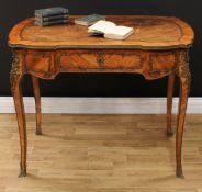 A French Louis XV Revival gilt metal mounted kingwood bureau plat, of small proportions, shaped