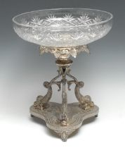 A Victorian silver-plated and cut-glass table centre, retailed by Benetfink & Co, Cheapside,
