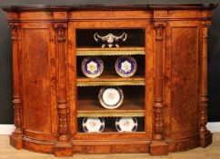 A substantial Victorian walnut and marquetry credenza, ebonised top and chevron parquetry frieze