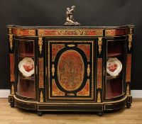 A Victorian gilt metal mounted ebonised and 'Boulle' marquetry credenza, slight break-centre top