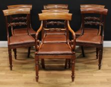 A set of six George/William IV mahogany bar back dining chairs, 83cm high, 45cm wide, the seat