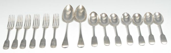 A set of six Victorian Fiddle and Thread pattern dessert forks, London 1862; seven Victorian