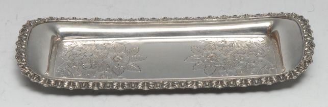 An Old Sheffield Plate shaped rounded rectangular chased and engraved with flowers and scrolling