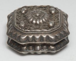 A 19th century Dutch canted square box, hinged cover applied with acorns and filigree and centred by