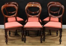 A set of six Victorian mahogany balloon back dining chairs, drop-in seats, turned forelegs,
